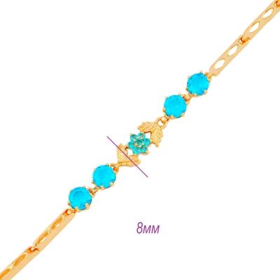 заказать крутой браслет с голубой ромашкой fallon под золото 585 пробы от 360р